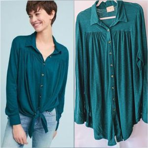 Anthropologie Darcy Knit Button Down Teal